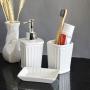 Kit Banheiro Lavabo Branco com Dispenser 3 Peças 4487 Preto