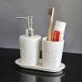 Kit Banheiro Lavabo Branco com Dispenser 3 Peças 4615 Prata