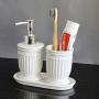 Kit Banheiro Lavabo Branco com Dispenser 3 Peças 4617 Prata