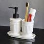 Kit Banheiro Lavabo Branco com Dispenser 3 Peças 4618 Preto
