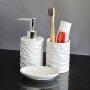 Kit Banheiro Lavabo Branco com Dispenser 3 Peças Ondas