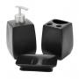 Kit de Banheiro Lavabo 3 Peças Preto fosco Liso Quadrado