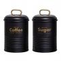 Kit Potes de Café e Açúcar Preto Fosco Estilo Industrial