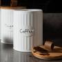 Kit Potes Latas de Café e Açúcar Branco Fosco Canelado Bambu
