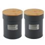 Kit Potes Latas de Café e Açúcar Chumbo Fosco Tampa Bambu