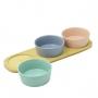 Petisqueira de Bambu com 3 Bowls de Cerâmica Colorido