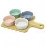 Petisqueira de Bambu com 4 Bowls de Ceramida Colorido