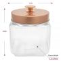 Pote de Vidro Quadrado Tampa Rosqueável Cobre 1,2 litros