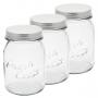Potes de Vidro com Tampa Rosqueável Inox 730ml 3 Peças