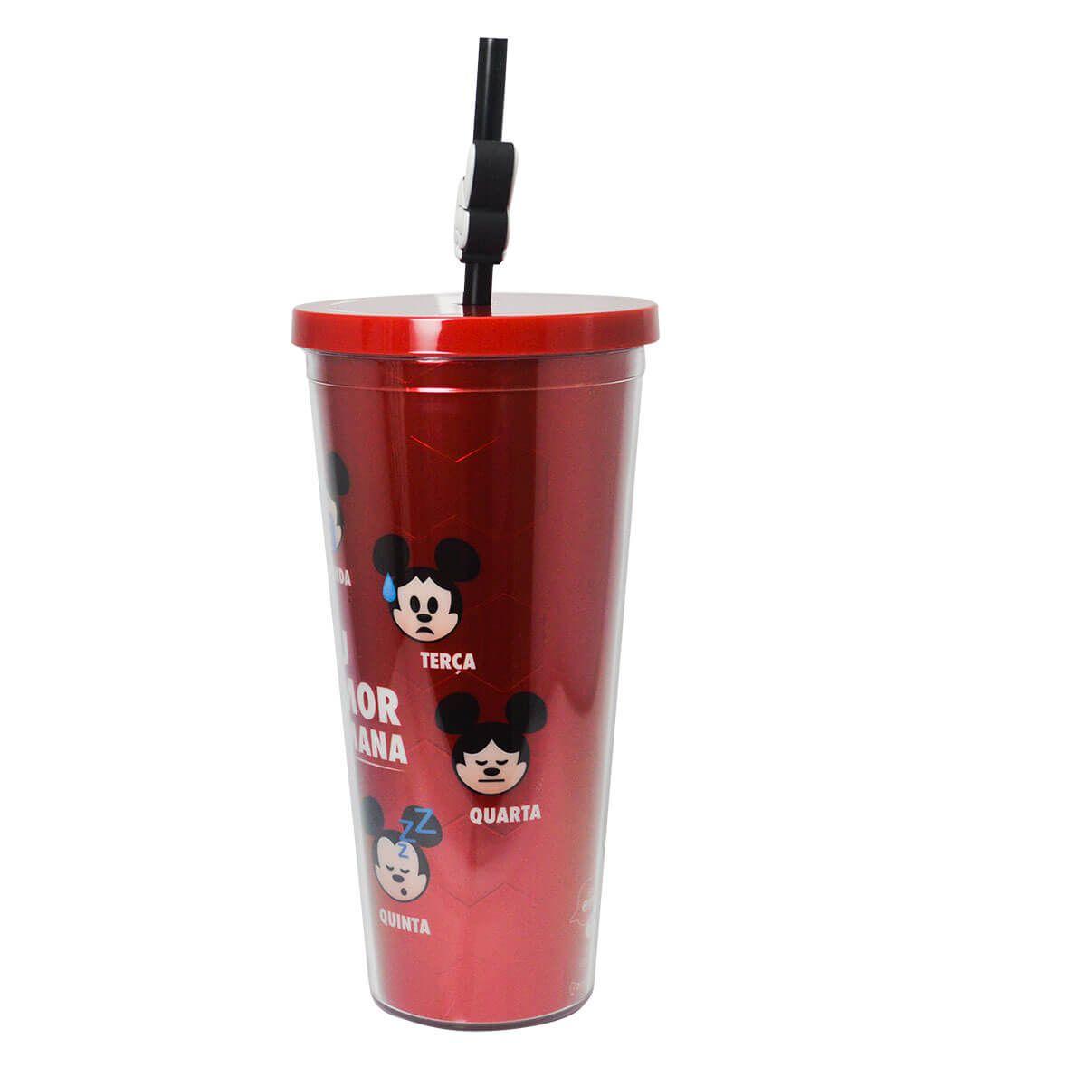 Copo com Canudo  Mickey Humor Da Semana 650ML