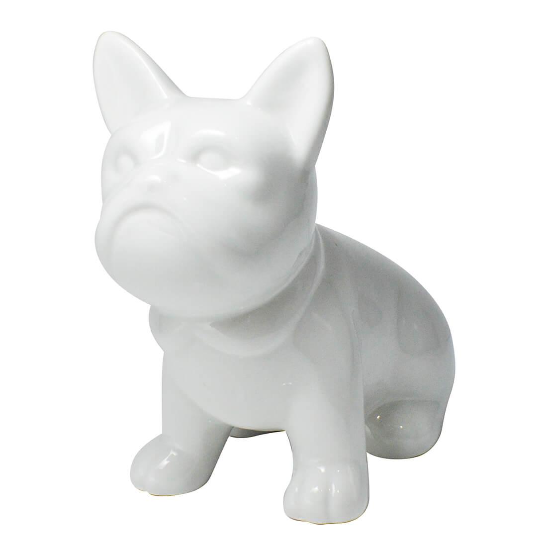 Enfeite Estatua Cachorro Bulldog 13cm Branco