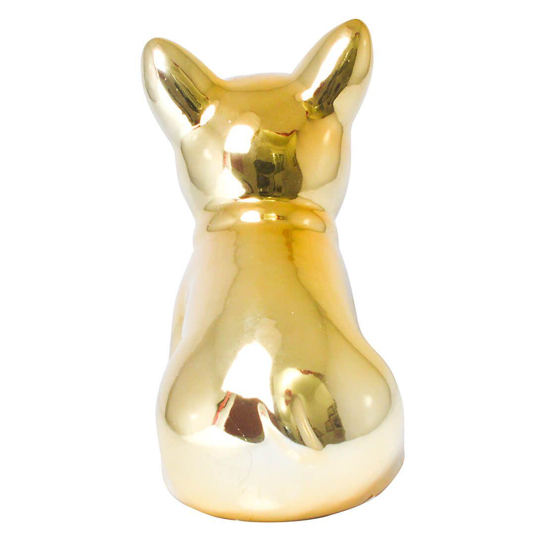 Enfeite Estatua Cachorro Bulldog 13cm Dourado