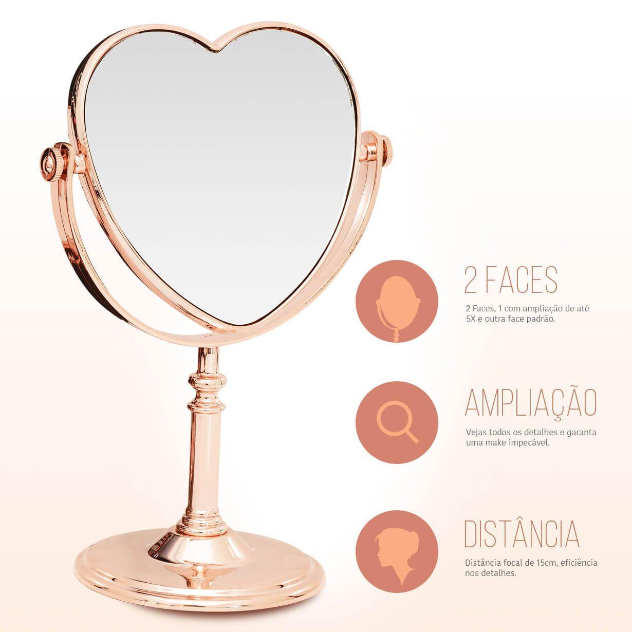 Espelho de Mesa Maquiagem Dupla Face Rose Gold Coração