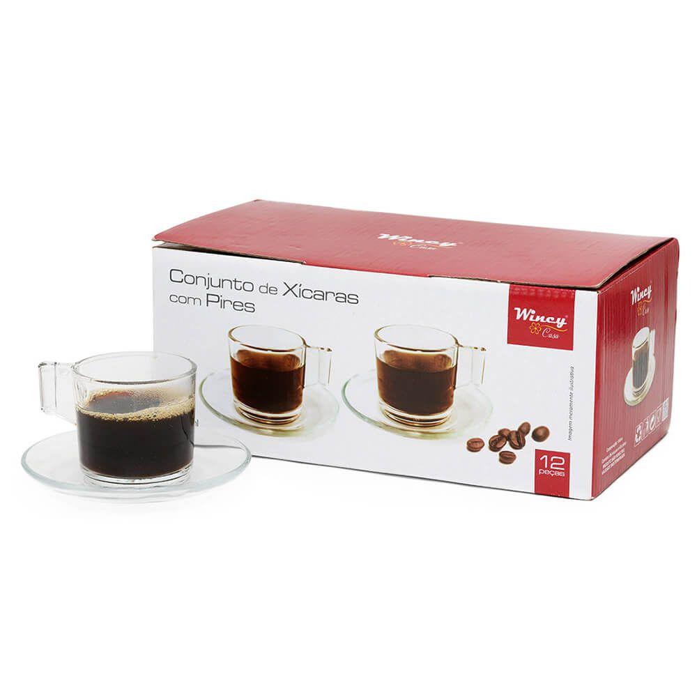 Jogo 6 Xicara com Pires para Cafe Expresso 90ml
