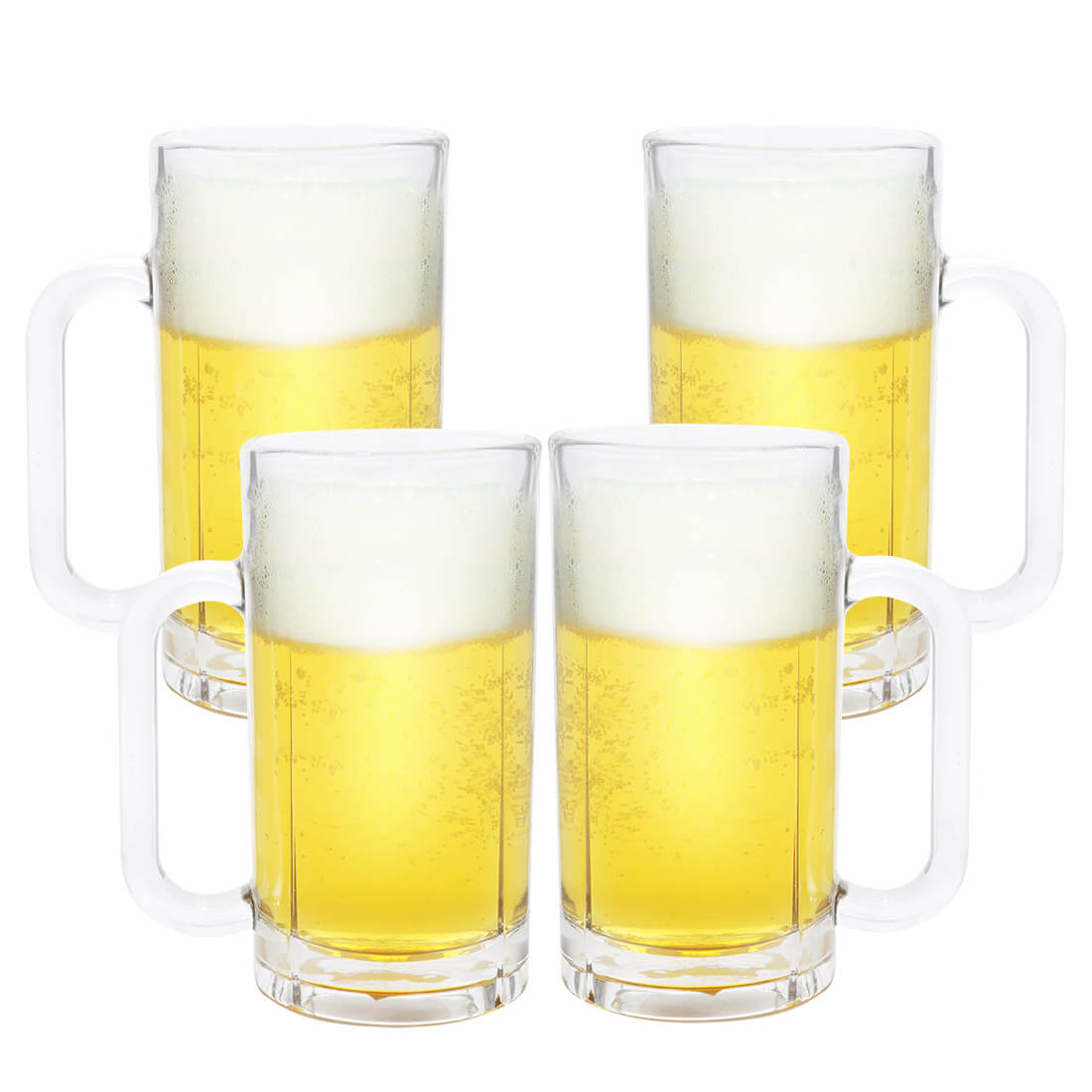 Kit 4 Canecas de Chopp Cerveja de Vidro Grosso 540ml