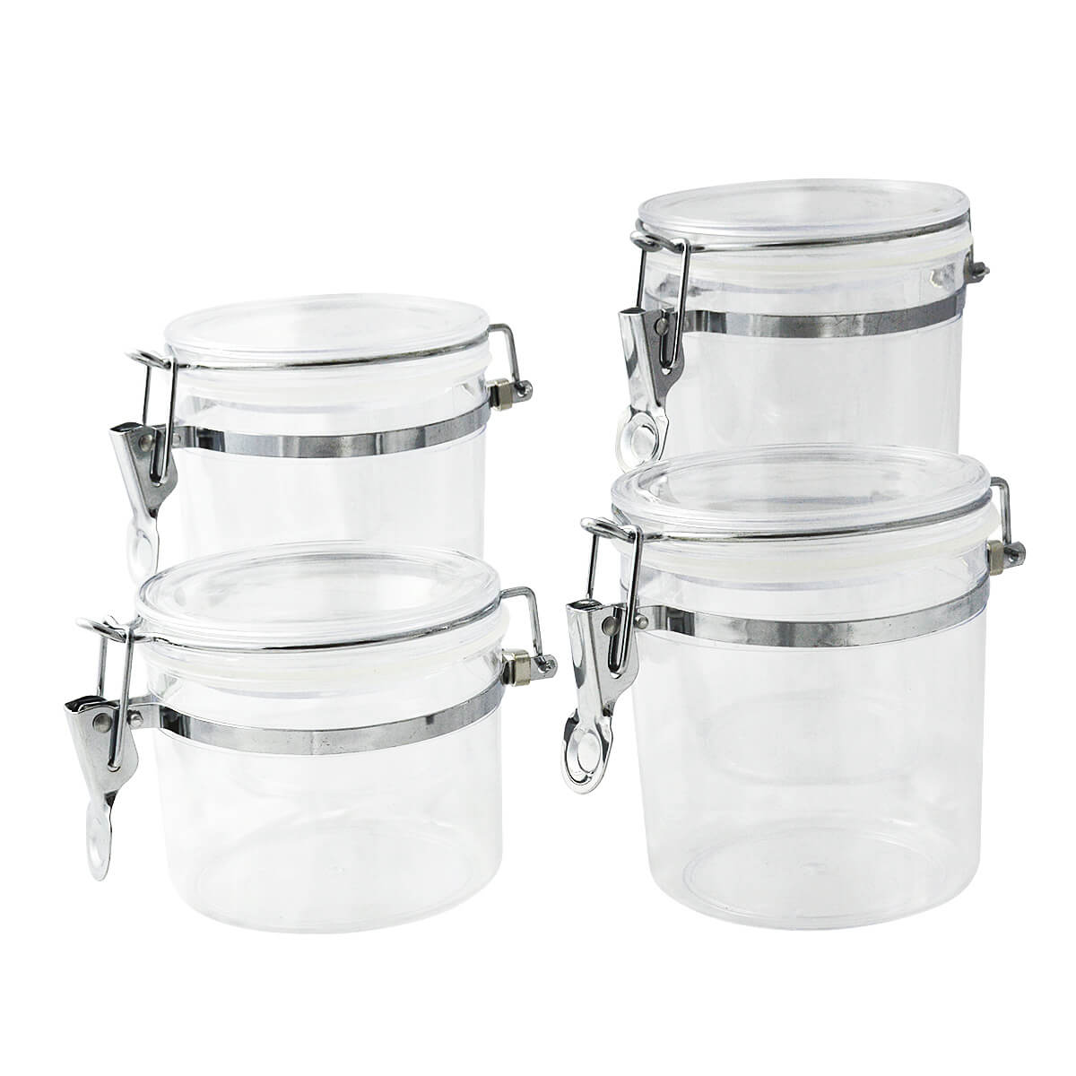 Kit 4 Potes herméticos Tampa Easy Lock Transparente