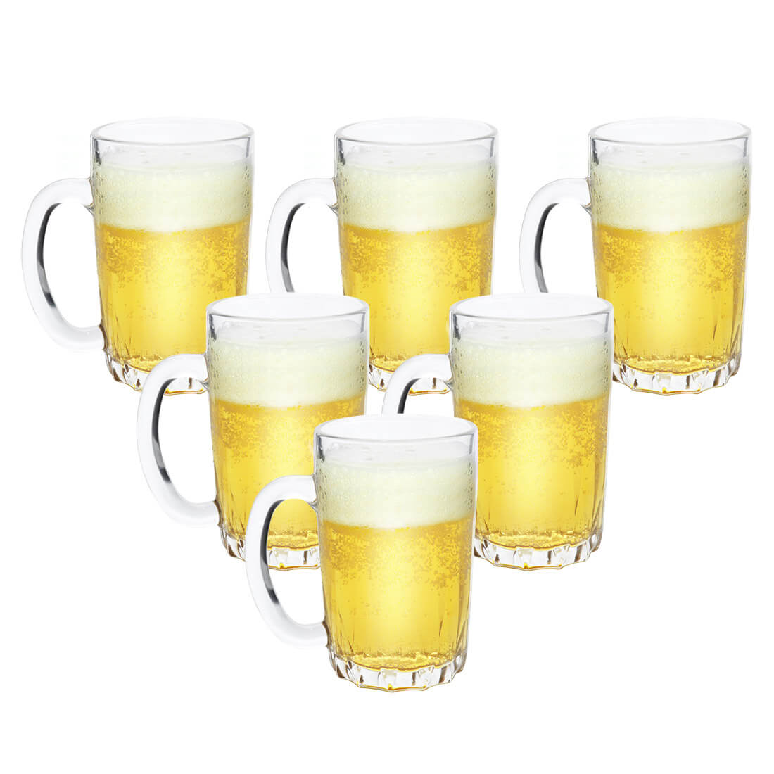 Kit 6 Canecas de Chopp Cerveja de Vidro Grosso 330ml