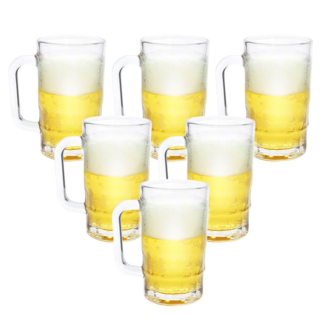 Kit 6 Canecas de Chopp Cerveja de Vidro Grosso 370ml