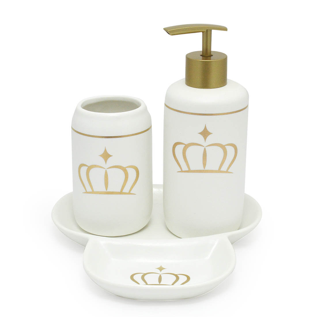 Kit Banheiro Lavabo 3 Peças Branco Porcelana Coroa Dourada