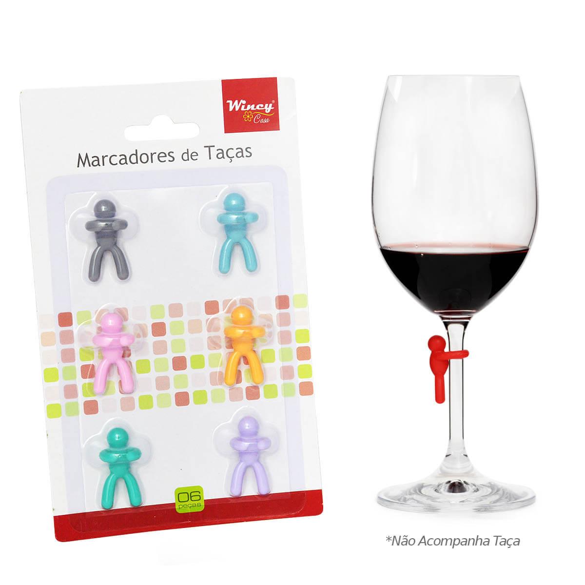 Kit com 6 Marcador para Taça de vinho Colorido Silicone