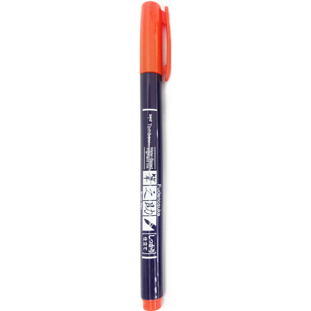 Caneta pincel Fudenosuke hard - cor laranja - TOMBOW