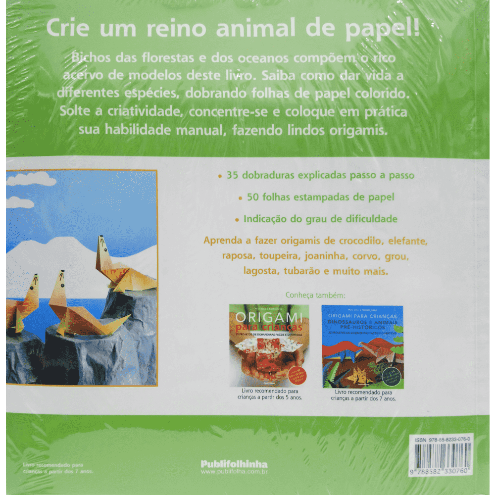 Origami para crianças - Animais da terra, do ar e do mar