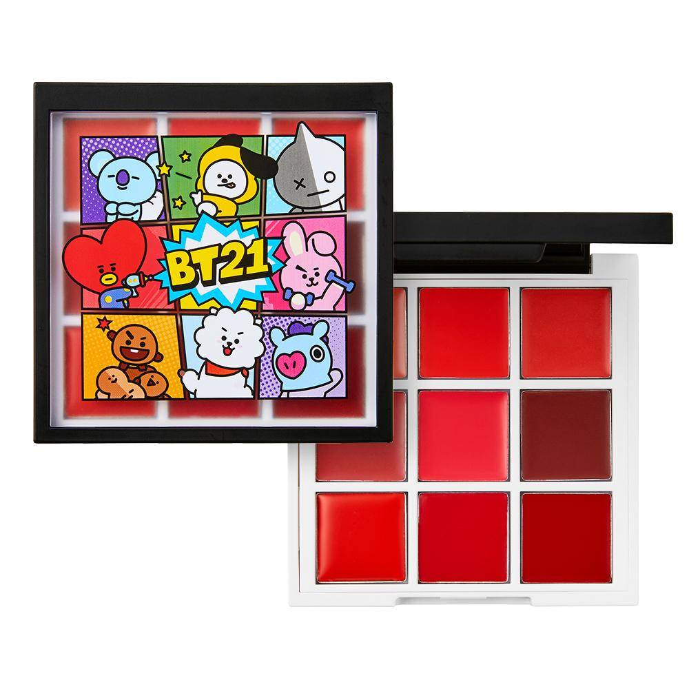 VT x BTS bt21 Art in lip Palette com 9 batons