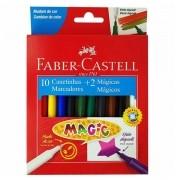 Canetinhas Hidrográficas 10 cores + 2 cores mágicas Faber Castell