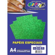 Papel Gliter A4 180g Verde Pacote 5 Folhas