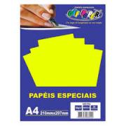 Papel Neon A4 180g Amarelo Pacote 20 Folhas