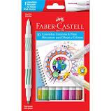 Canetinhas Hidrográficas Ponta dupla 10 cores Faber Castell