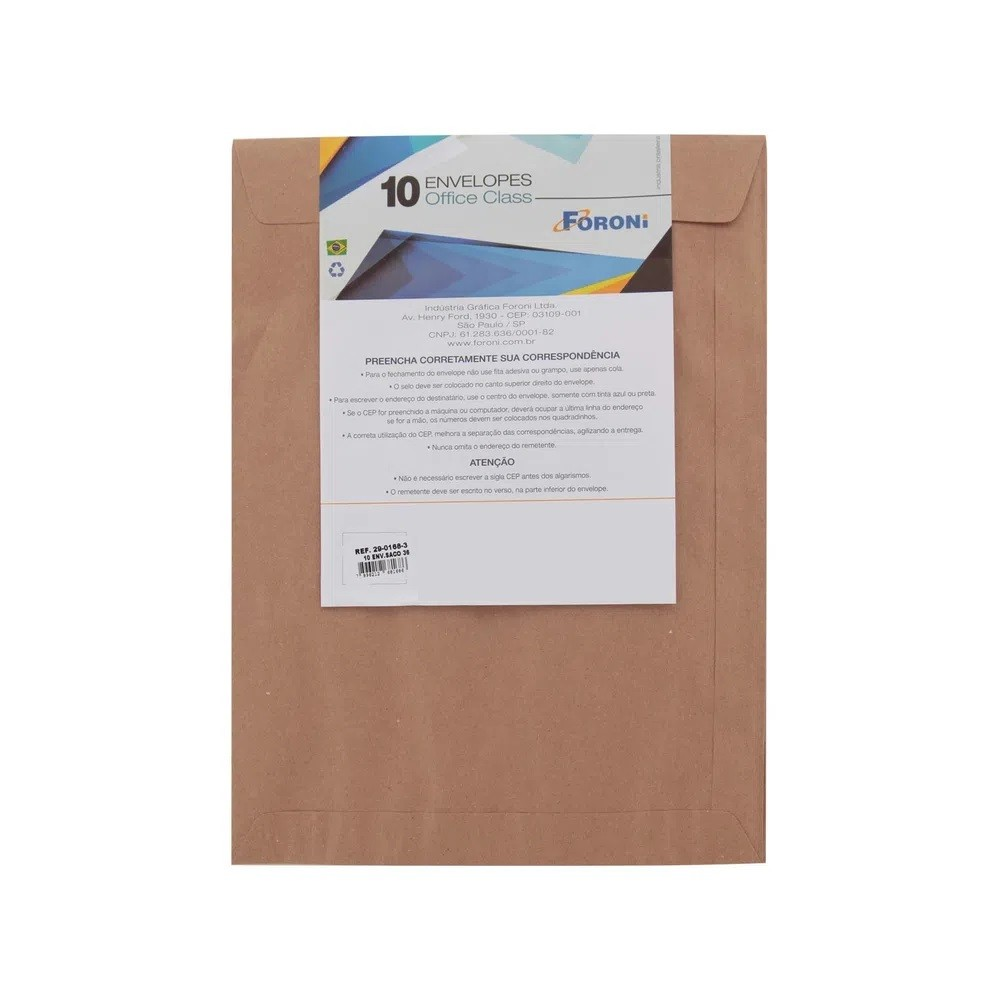 Envelope Kraft Natural 162X229 - 10 UN