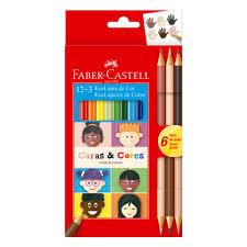 Lápis de Cor 12 cores + 3 cores caras e cores Faber Castell