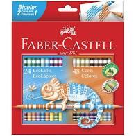 Lápis de Cor Bicolor 48 cores Faber Castell