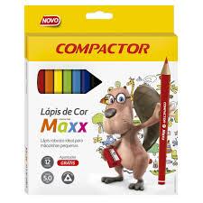 Lápis de Cor Jumbo 12 cores Compactor Maxx