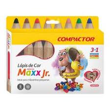 Lápis de Cor Jumbo 8 cores Compactor Maxx