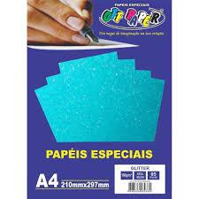 Papel Gliter A4 180g Azul Pacote 5 Folhas