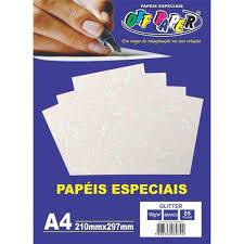 Papel Gliter A4 180g Branco Pacote 5 Folhas