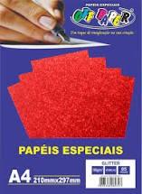 Papel Gliter A4 180g Vermelho Pacote 5 Folhas