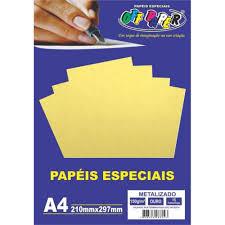 Papel Metalizado A4 150g Ouro Pacote 15 Folhas