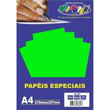 Papel Neon A4 180g Verde Pacote 20 Folhas