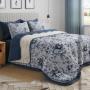 Edredom Plush/ Sherpa Blue Roses Lynel