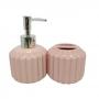Kit de Banheiro de Cerâmica 2 Peças Retrô Rosa
