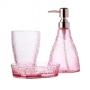 Kit de Banheiro de Vidro 3 peças Elegant Rosa