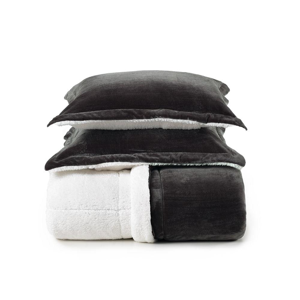 Edredom Sherpa com Porta Travesseiro Sonata Carbono Karsten