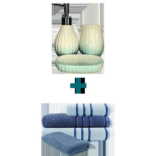 Jogo de Toalha 5 Peças Azul + Kit de Banheiro 3 Peças Vintage Azul