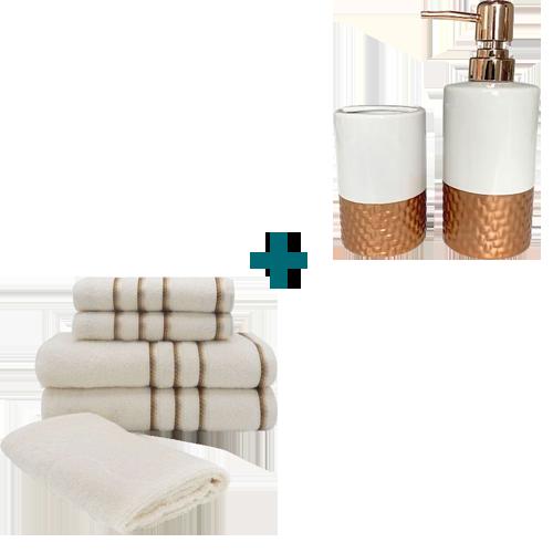 Jogo de Toalha 5 Peças Pérola + Kit de Banheiro 2 Peças Copper
