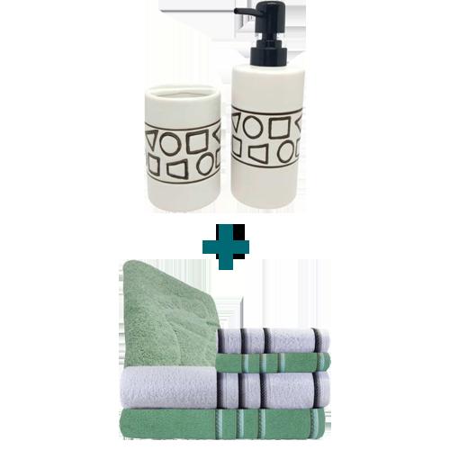 Jogo de Toalha 5 Peças Verde + Kit de Banheiro 2 Peças Formats