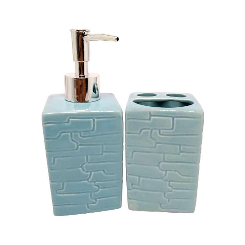 Kit de Banheiro de Cerâmica 2 peças Brick Azul
