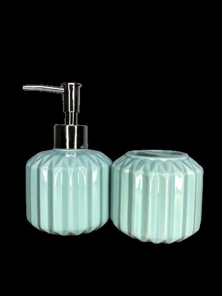 Kit de Banheiro de Cerâmica 2 Peças Retrô Azul